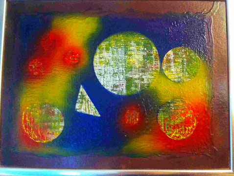 meine meiner ersten Arbeiten. Fantasie Planeten aus unterschiedlichen Lackfarben.