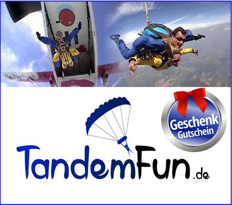 Fallschirmsprung Bayern mit Tandemfun. Ein Tandemsprung Gutschein als Geschenk zu Weihnachten. Fallschirmspringen Dingolfing Niederbayern.