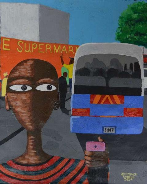 NALA im Minibus, Acrylfarbe auf Leinwand, von Christopher Simbule, Lusaka / Zambia
