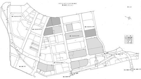 三菱地所と三菱重工所有のMM区画整理対象地区内の換地位置図、濃いグレー部分が日本丸メモリアルパーク用地との交換用地  出典:UR都市機構東日本都市再生本部への情報開示提供資料、神奈川県県土整備局都市部都市整備課土地区画整理グループへの情報開示提供資料等により筆者が作図