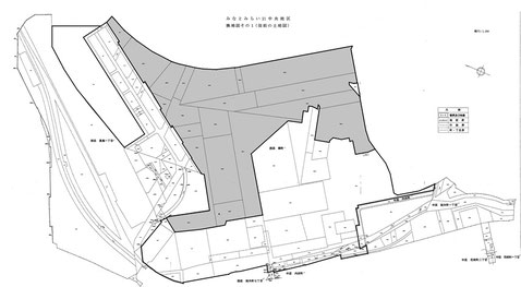 MM区画整理対象地区の従前の土地図、グレー部分は旧緑町の海面 出典:UR都市機構東日本都市再生本部への情報開示提供資料、神奈川県県土整備局都市部都市整備課土地区画整理グループへの情報開示提供資料を元に筆者が作図