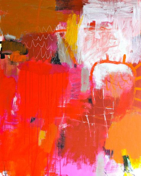 Evelyne Knobling, Hauptsache Rot, 2014, Acryl auf Leinwand,  100 x 80 cm