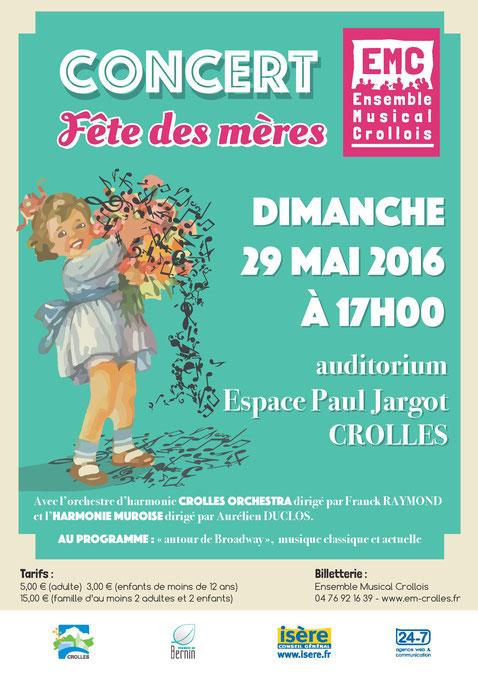 Ecole de musique EMC à Crolles - Grésivaudan : affiche du concert fête des mères 2016