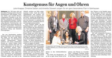 Presse GNZ Finissage, 10.März 2019, Bild Viertel-for-Sax und Malerinnen Julie Knappe, Annette Stiewert, Christine Sattler