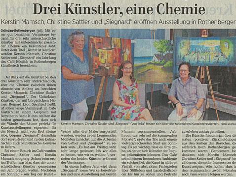 Presseartikel, Kunst, Cafe Köstlich, 2018, Presse, Gelnhäuser Neue ZeitungRothenbergen, Kunst, Malerei, Vernissage, ausstellung, Presse