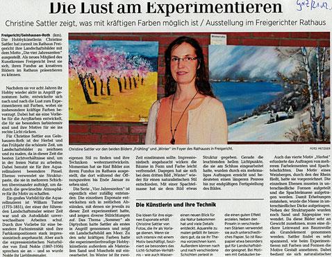 Rathaus Somborn, Kunst, Malerei, Vernissage, Presse, Gelnhäuser Neue Zeitung, ausstellung, Presse, vier JAhreszeiten