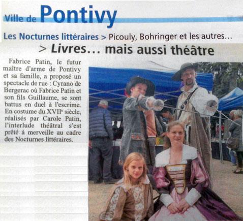 Nocturnes littéraires Pontivy Journal démonstration escrime artisitque Cyrano Bergerac