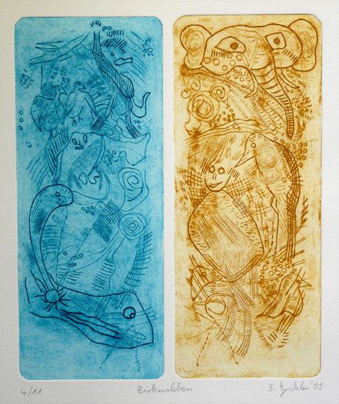 Zirkusleben: Strichätzung, Kaltnadel auf Bütten, Auflage 11, 45 x 32 cm, 2009
