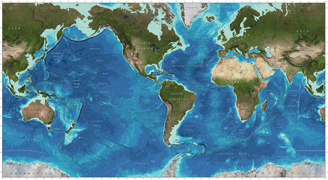 The global continental shelf, highlighted in cyan, defines the extent of coastal habitats, and occupies 5% of the total world area. Tap to view in full size. Source: By GEBCO world map 2014 (public domain) - [1] doi:10.3389/fmars.2019.00241, CC0, https:/