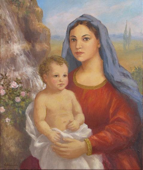 Tony Wahlander (Wåhlander) La Sainte Vierge Marie et son enfant Jésus