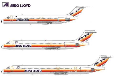 Von oben nach unten: DC-9-32, MD-87, MD-83/Courtesy: MD-80.net