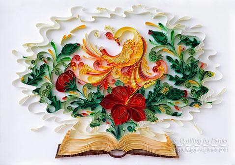 quilling , quilling paper, paper art, art, love art, design, fire bird, bird, quilling art, book, quilling book, quilling paper art, paper bird, paper flowers, quilling flowers