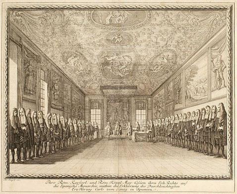 Darstellung der Verleihungszeremonie des Erbrechts an Erzherzog Karl zum König von Spanien -  C. Wigel, Kupferstich um 1703 (Sammlung Schloss Schönbrunn)