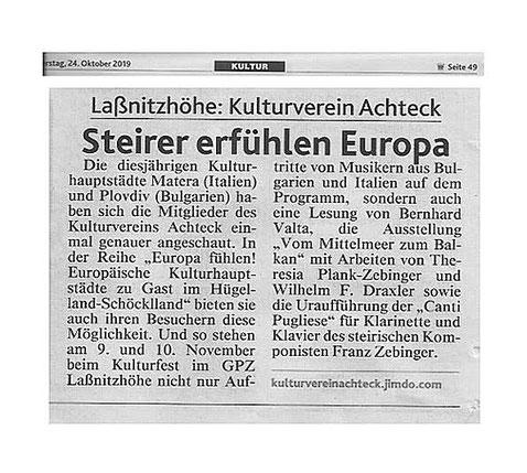 Die diesjährigen Kulturhauptstädte, KV Achteck zusammen mit Künstler-Innen dieser Länder!