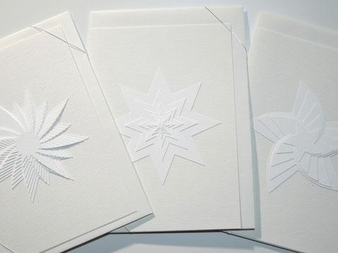 Kunstkarten  aus Papier verschiedene Sternmotive