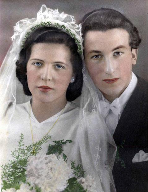 Handcoloriertes Hochzeitsfoto im Stil der Zeit (November 1948)