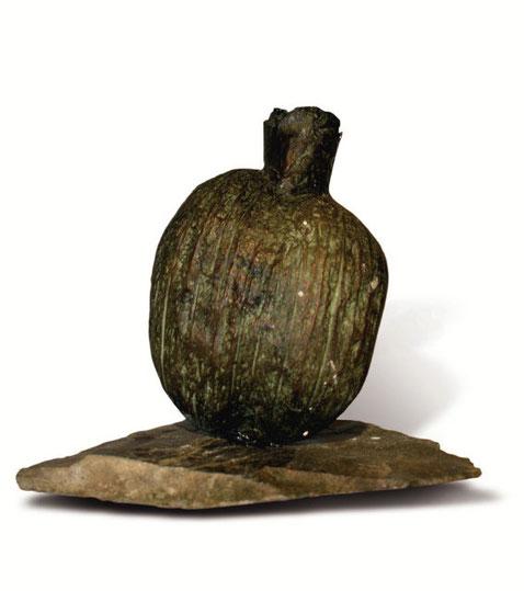Vase coco, bronze patiné, ardoise,  15 x 10 x 10 cm