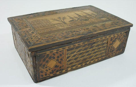 Folk art prisoner of war straw work box