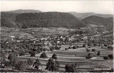 Eine eher spezielle Ansicht auf das Dorf aus nördlicher Richtung, ca. 1950 (Verlag Photoglob-Wehrli, Zürich; y 3177)