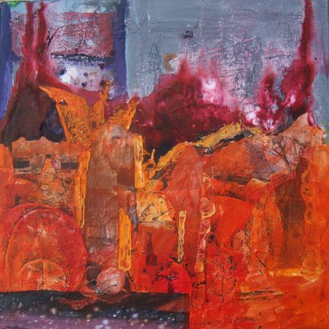 Ausdruckstarke Malerei in Orange, Traumwelten, Phantasiereisen, Olching
