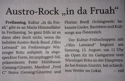 Olles Leiwand - Austropopband aus dem BGL - spielt beim Wieninger Bräu Freilassing