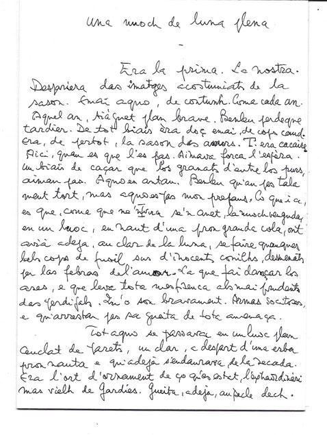 Première page du manuscrit de Max Rouquette