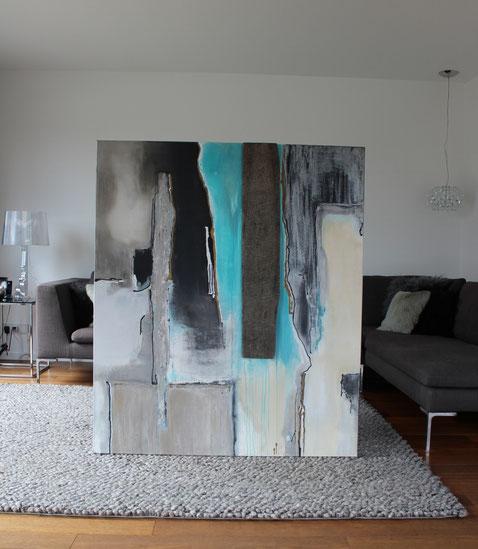 """""""Natur trifft Kunst 3"""" - 140cm x 120cm - Acryl / Eichenholz der Fa. Hugo Kämpf auf Leinwand - Preis auf Anfrage"""