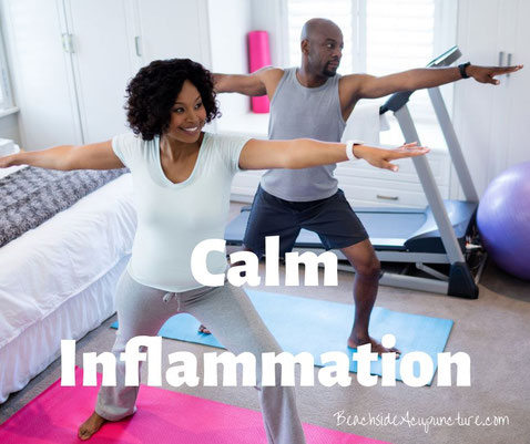 """Calm Inflammation"" and ""BeachsideAcupuncture.com"" set over a happy couple practicing yoga exercises"