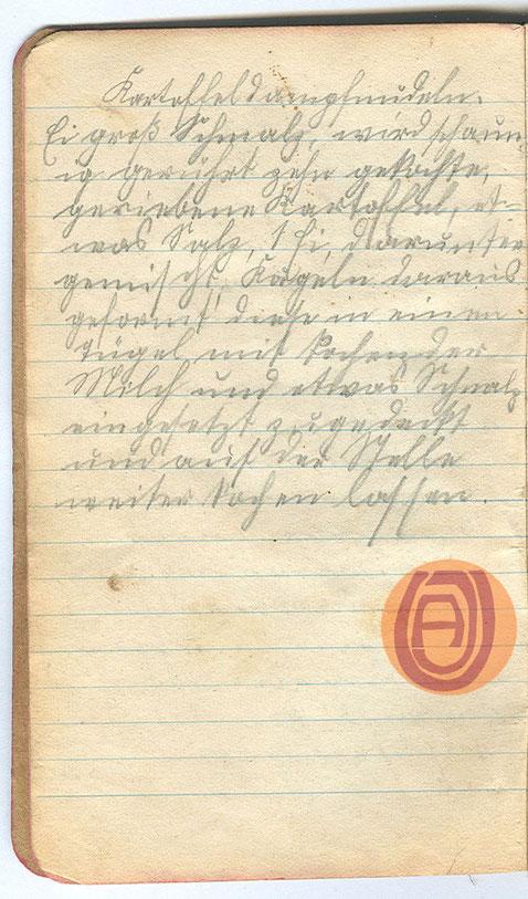 Handschrift, um 1915.