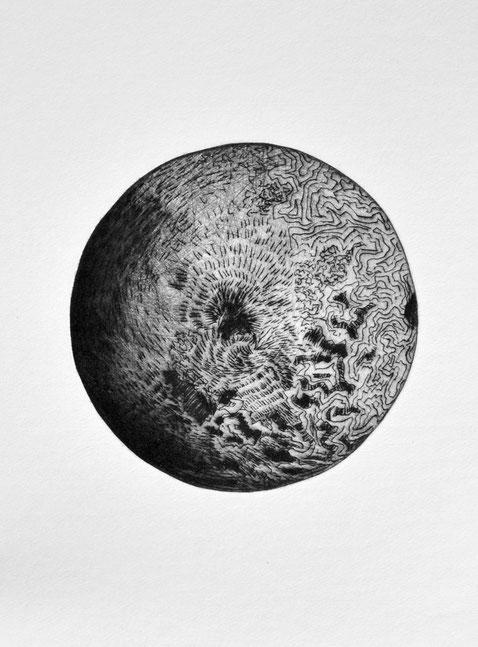 Verrückend • 2019 • Kaltnadelradierung • Engraving print on paper • 26,5 x 39 cm