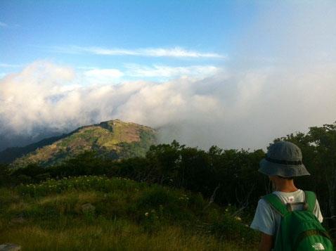 雲が三嶺を完全に包み込んで、、、(汗) *現在地は韮生越。 見えてる山は、カヤハゲ