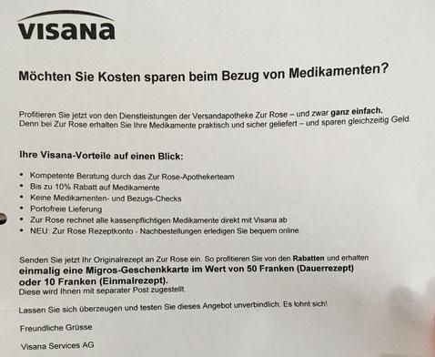 Mit solchen Briefen fordert Visana ihre Versicherten dazu auf, Medikamente online zu beziehen.
