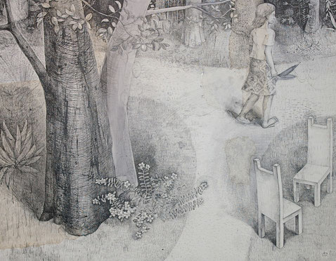 A girl walking  in to the forest. big tree, 2 chairs, flowers