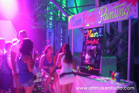 stand maquillaje fluor make up, body painting, ibiza madrid