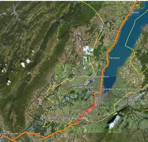 En orange les lignes SNCF et CFF existantes. En rouge la ligne nouvelle