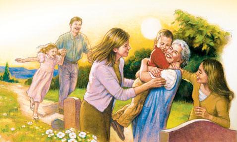 La Bible nous donne l'espoir de la résurrection qui aura lieu pendant le règne millénaire. Pour toujours il fera disparaître la mort. Le Seigneur Yahvé essuiera les larmes sur tous les visages, il délivrera son peuple de ses humiliations.