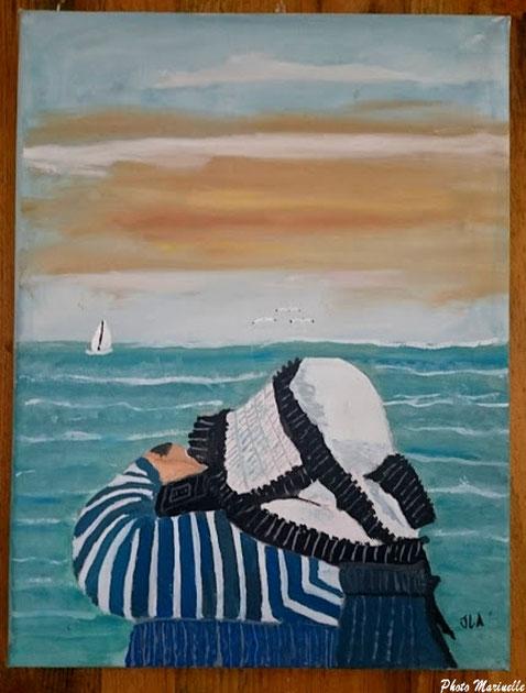 """JLA Artiste Peintre -""""Femme à la benaise photographiant le Bassin d'Arcachon""""  063 - Peinture sur toile"""