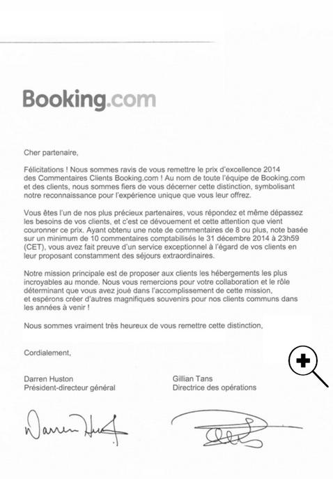 Prix d'excellence 2014 de Booking.com, pour l'excellence de l'expérience client au Gîte des P'tites Madames