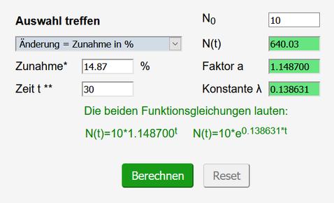 Screenshot: Berechnung der Infizierten nach 30 Tagen
