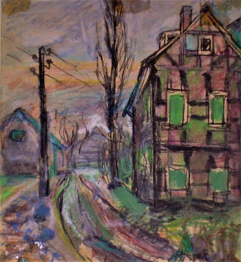 Amud Uwe Millies (1932-2008): Ansicht vom Roten Haus und vom alten Pumpenhaus, ca. 1958