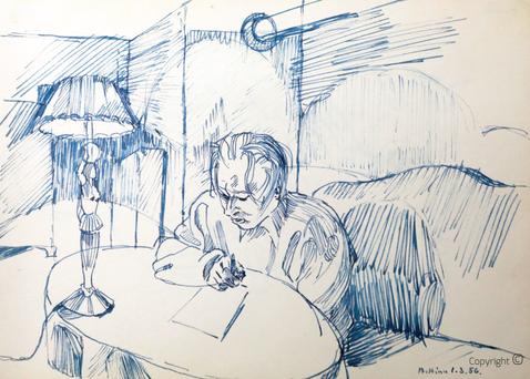Bettina Heinen-Ayech (1937-2020): Amud Uwe Millies beim Zeichnen im kleinen Salon des Schwarzen Hauses, 1956
