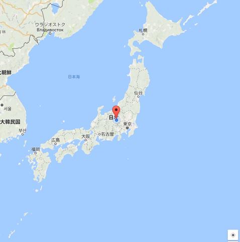 日本全体図(Googleマップ)から軽井沢の位置を大まかに表示。