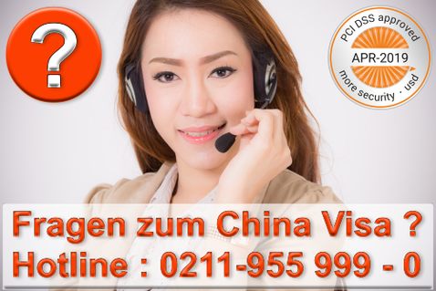 China Visa Service Callcenter Telefon 0211-9559990