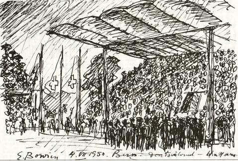 Erwin Bowien ( 1899-1972): Erwin Bowien zeichnet 1954 die Finale des WM-Endspiels in Bern