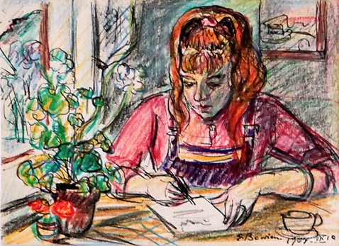Portrait sketch of painting student Bettina Heinen-Ayech during a painting trip with Erwin Bowien