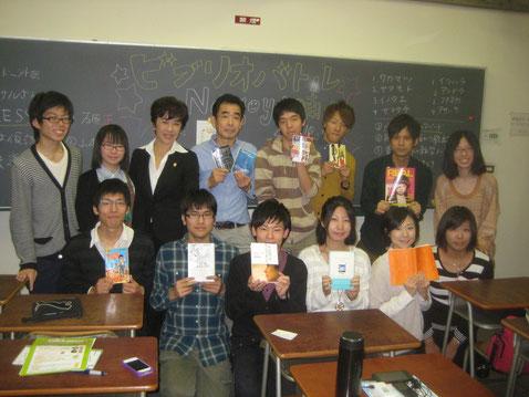 ビブリオバトルに参加の学生さんたちと。南山大学名古屋キャンパスにて