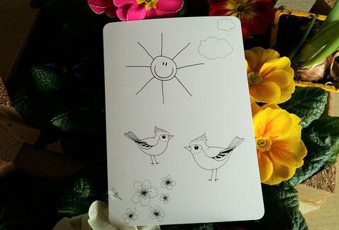 Postkarte zum ausmalen - Frühling - beidseitig bedruckt mit Vögeln und Sonne - Vorderseite