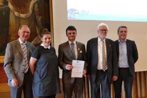 Stellv. Landrat Anton Westner, Anita Scheller, Christian Huber, Prof. Hans Leppelsack, Bürgermeister Thomas Herker
