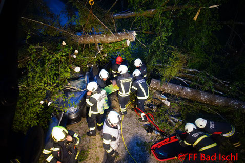 Feuerwehr, Blaulicht, Übung, Bäume auf PKW, FF Bad Ischl