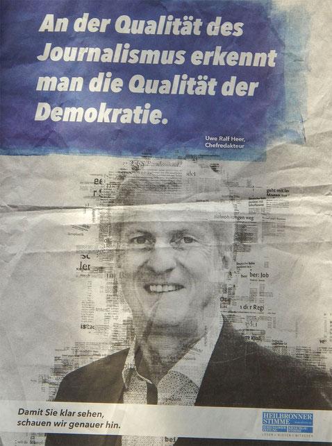 Der Strahlemann zur Wirtschaft und Chefredakteur Heer der Heilbronner Stimme hat Selbstbeweihräucherung in ganzseitigen Anzeigen nötig